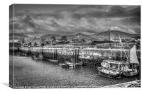 Annalong Harbour (Mono), Canvas Print