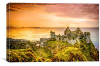 Dunluce Golden sunset, Canvas Print