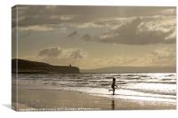 Evening bathe at Portstewart, Canvas Print