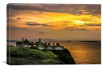 Illuminated Dunluce Castle, Canvas Print