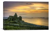 Sundown at the Dunluce Castle, Canvas Print