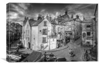 ROBIN HOODS BAY VILLAGE 2011 black and white, Canvas Print