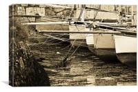 Oyster Boats Laid up at Mylor, Canvas Print
