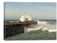 Portreath Harbour Wall, Canvas Print
