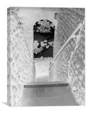clocktower steps inverted, Canvas Print