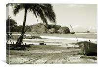 Duo-tone image of Playa Pelada, Canvas Print