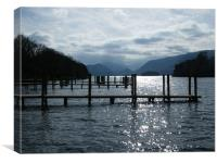 Sunlight reflections across Derwent Water, Canvas Print