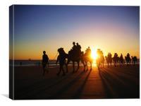 Desert meets sea meets camels, Canvas Print