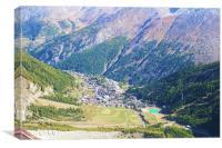 View over Saas Fee, Swiss, Canvas Print