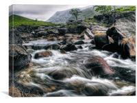 Rushing River, Glen Etive, Canvas Print