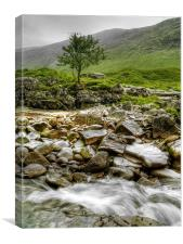 The Rocky River Etive., Canvas Print