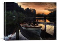 Golden Sunset over Loch Ard, Canvas Print