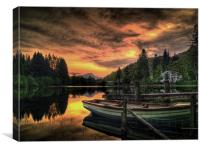 Spring Sunset Loch Ard, Canvas Print