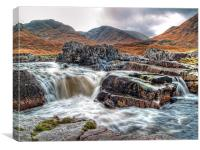Waterfall On The River Etive, Canvas Print