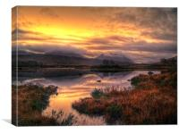 Golden Sunrise Over Loch Ba, Canvas Print