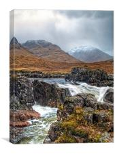 Winter Over The River Etive, Canvas Print