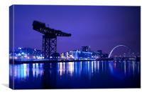 The River Clyde At Night., Canvas Print