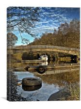 Bridge reflections on Loch Earn., Canvas Print
