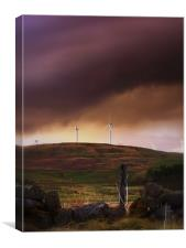 Storm Clouds Over Wind Farm., Canvas Print