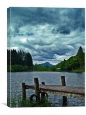 Jetty Over Loch Ard, Scotland., Canvas Print