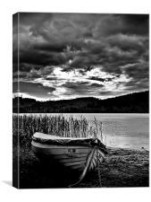 Wooden Boat , Loch Ard In B&W., Canvas Print