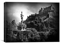 The Ross Fountain, Edinburgh in B&w., Canvas Print