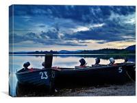 Boats On Lake Menteith, Scotland., Canvas Print