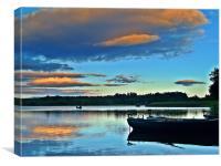 Fishing On Gartmorn Dam,Scotland., Canvas Print