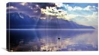 Sunbeams Over Lake Geneva, Switzerland., Canvas Print