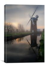 Reflecting on Horsey Mill, Canvas Print