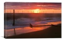 Sun, Turbines, Groyne and Sea, Canvas Print