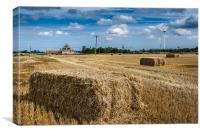 Straw bales and wind turbine, Canvas Print