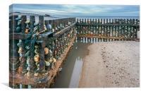 Groynes on Caister Beach, Canvas Print
