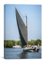 Black Sailed Norfolk Wherry, Canvas Print