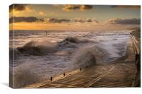 Rough Sea Sunrise at Overstrand, Canvas Print