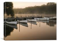 Misty morning at the Eels Foot, Canvas Print