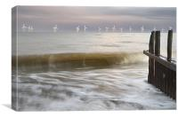 Dusk by the sea at a Caister groyne, Canvas Print