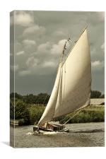 Yacht in full sail, Canvas Print
