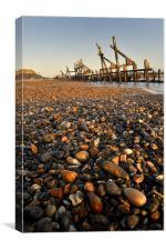 Pebble and  Wood Sea Defence, Canvas Print