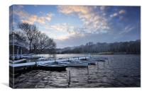 Rowing boats in Snow, Canvas Print