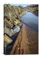 Barnacled hull of shipwreck, Canvas Print