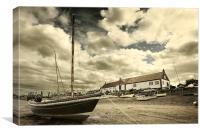 Boat on mud at Burnham, Canvas Print