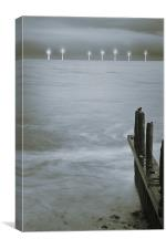 Turbines from Caister Beach, Canvas Print