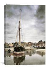 Juno, moored at Blakeney, Canvas Print