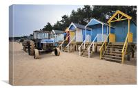 Tractor and Beach Huts, Canvas Print
