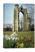 Abbey and snowdrops, Canvas Print
