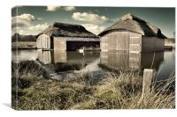 Thatched Boat Sheds, Canvas Print