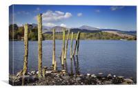 Old wooden poles on Derwent Water, Canvas Print