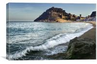 Tossa De Mar Castle and Beach, Canvas Print