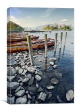 Boats and Poles on Derwent Water, Canvas Print